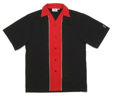 Black Red Stripe Bowling Shirt