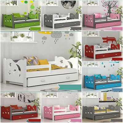 TEDDY Childrens Kids Toddler Pine Bed with Mattress Storage Drawer 12 Colours