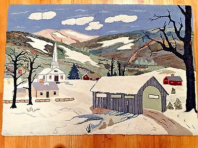 Vtg Hand Hooked (28x40) PRIMITIVE RUG WINTER SCENE House Church Covered Bridge