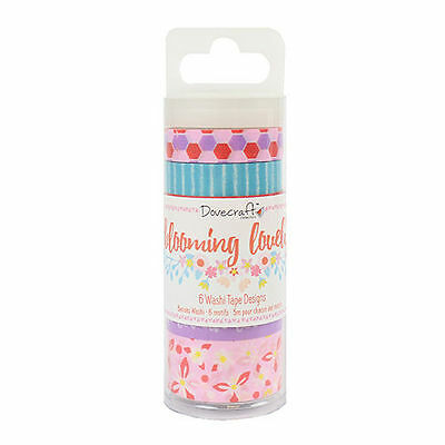 Dovecraft BLOOMING LOVELY pack of 6 bees & florals Washi Tapes