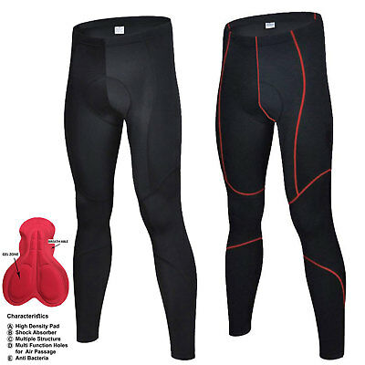 Men's Compression Cycling Tights  Padded Cycle Leggings Long Pants