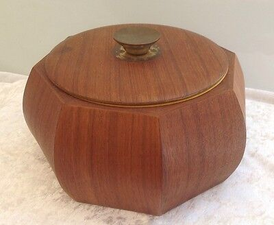 Vintage Mid Century Teak And Anodised Ice Bucket Retro Bar Man Cave
