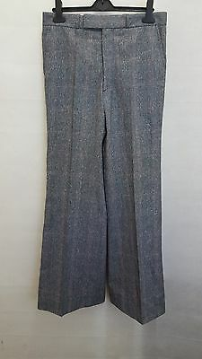 Vintage 1970s Grey Blue Red Check Flared Trousers Disco Flares Size W32 L32