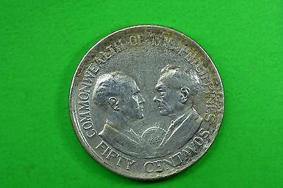 Philippines (US) 50 centavos 1936 F-VF .750 silver 10gr 28mm. Rare 50.00$