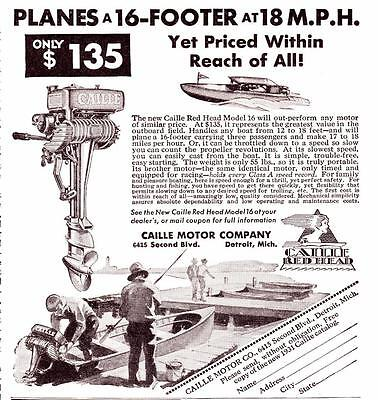 1931 Vintage ad Caille Outboard Motors Red Head Model 16 Great Graphics!