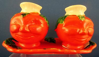 Vintage Anthromorphic Smiling Tomato Face Salt & Pepper Shakers w/ Tray JAPAN