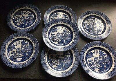 Set Of 7 Churchill England Blue & White Plates 21 cm wide