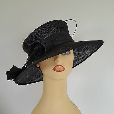 Ladies Formal Hat Wedding Races Mother Bride Black Twirls Feather Balfour