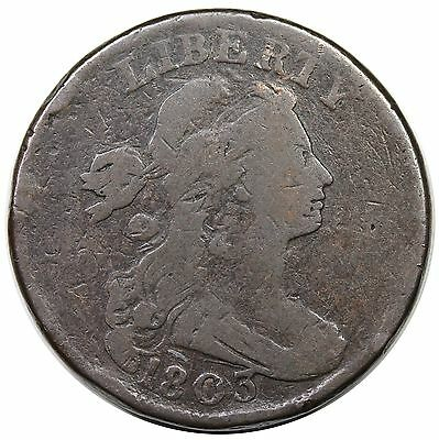 1803 Draped Bust Large Cent, Small Date & Fraction, scarce S-244, R.4, VG detail