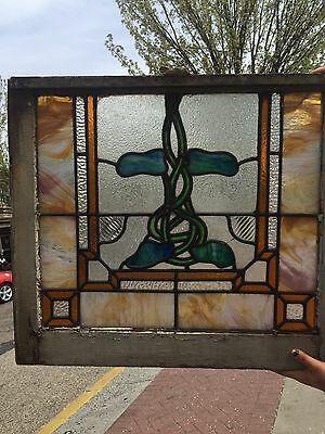 1890-1920s Vintage Stained Glass Window 28.5x24 Leaded NJ Green Purple Camden