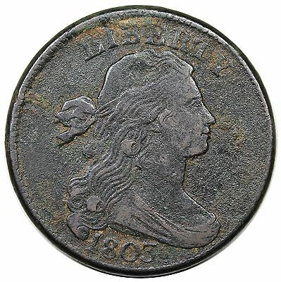 1803 Draped Bust Large Cent, Small Date, Large Fraction, S-260, VF+ detail