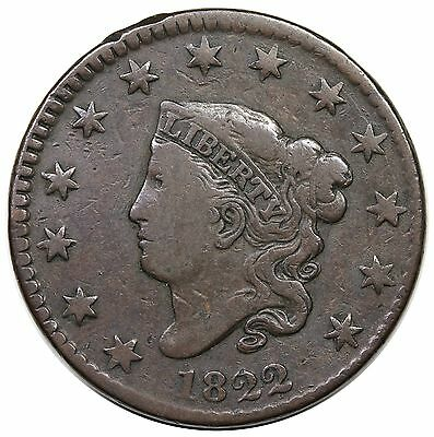 1822 Coronet Head Large Cent, N-2, F+ detail