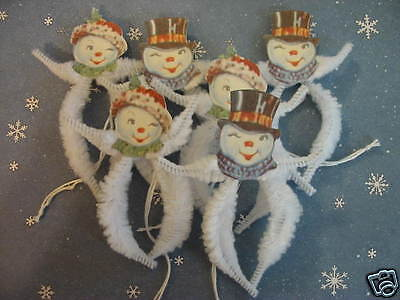 Primitive Vintage Style Christmas Snow Couple Ornaments Chenille Feather Tree