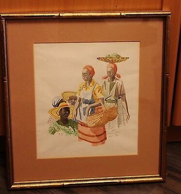 Framed Original Watercolour by Jamaican Artist, Milton Messam