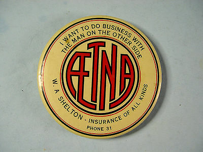 Antique Advertising Hand Mirror, Aetna Insurance, made by Cruver, Chicago