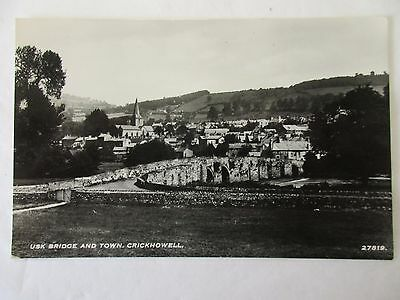 old rp postcard usk bridge and town  crickhowell  (unposted)