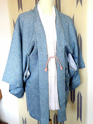 H168  Vintage Japanese Silk Haori;med;teal Blue/white Shibori;soft;delicate Look