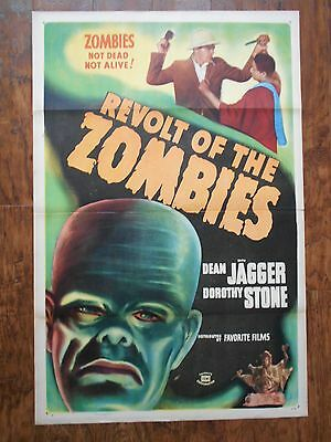 REVOLT OF THE ZOMBIES 1947 US One Sheet Poster DEAN JAGGER Fantasy HORROR