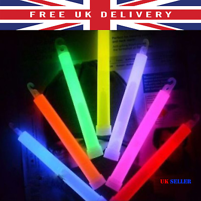 "6 PIECES 6"" 15mm Glow Sticks Thick LightStick with Lanyards Individually Wrapped"