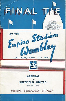 ARSENAL  v SHEFFIELD UNITED - 1936 FA CUP FINAL