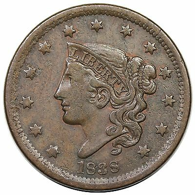 1838 Coronet Head Large Cent, N-9, nice VF+, ex Newman