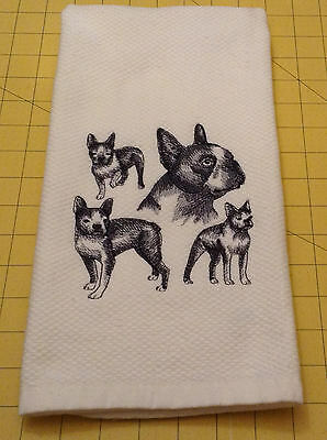 BOSTON TERRIER COLLAGE SKETCH Embroidered Kitchen Hand Towel 100% cotton