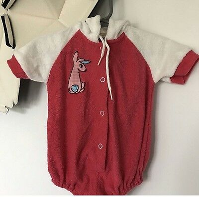 Vintage Baby Terry Cloth Hoodie One Piece Bodysuit  Pink Bunny 6 Months Size