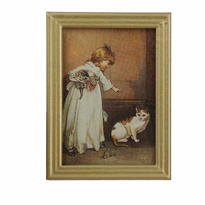 1/12 Resin Frame Girls and Cat Wall Mural Pictures Doll House Miniatures Z8T9
