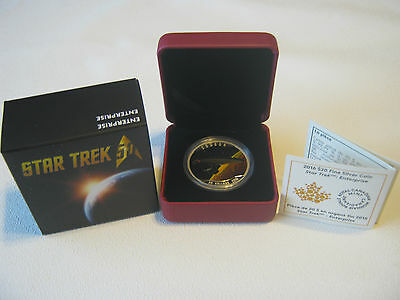 Canada 2016 Star Trek Enterprise Coloured $20 Silver Coin