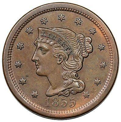 1855 Braided Hair Large Cent, Upright 5's, N-7, AU, ex Newman