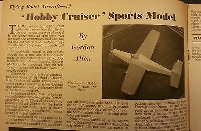 "3 x Hobbies Weekly -1960 ""Hobby Cruiser"" Model Aeroplane by Gordon Allen"