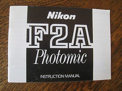 Nikon F2A Photomic Instruction Manual Slr Camera Photography