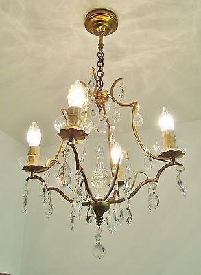 Gorgeous Crystal Droplets Chandelier Light Vintage French Spike In Centre