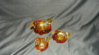 Vintage Carnival Glass Harvest Gold Swan Bowl 3 Piece Set