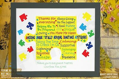 Personalised TEACHER Thank You Gift Autism Leaving School Present Gift Canvas