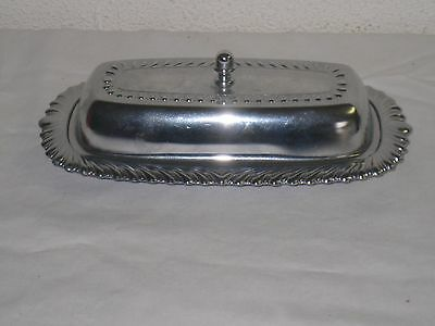 Vintage Irvinware Silver Tone Butter Dish with Clear Glass Insert Made in USA