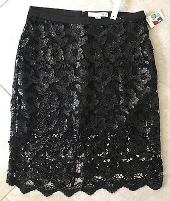 Renn Ladies Size 8 Skirt Black Sequin Lace Cocktail Occasion Party Holiday New
