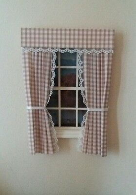 Dolls House Curtains Coffee Gingham