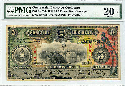 GUATEMALA 1919 BANCO DE OCCIDENTE 5 PESOS SCARCE NOTE PMG-VF-20. P-S#176b