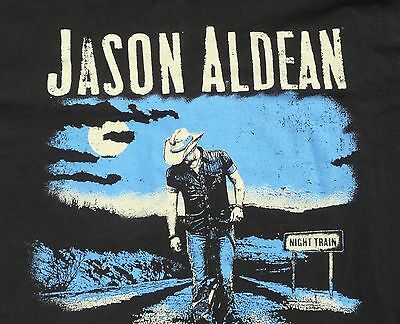 Jason Aldean T-Shirt LARGE Night Train Tour 100% Cotton Dates on Back FREE SHIP
