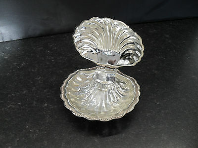 Silver Plated Shell Shaped Chrome Butter Dish With Glass Inlay Vintage