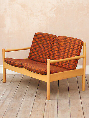 Rare Vintage Retro Mid Century Modernist Ercol Blonde Two Seater Sofa