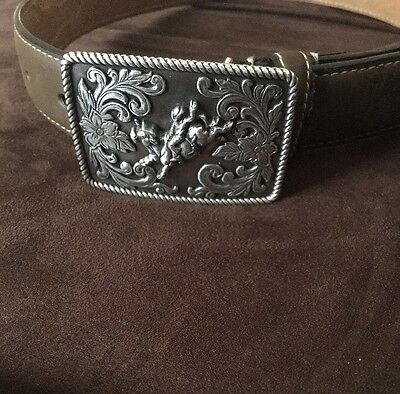 Kids Brown Leather Nocona Belt With Bucking Bull Buckle Boys 28