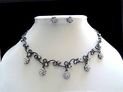 Vintage Flowers Necklace/Choker and Earring Set Clear Australia Crystals N1170