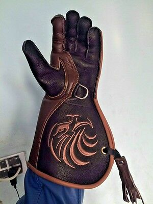 Falconry Glove  L Medium Red and white OWL embroided  Cow Hide Soft leather