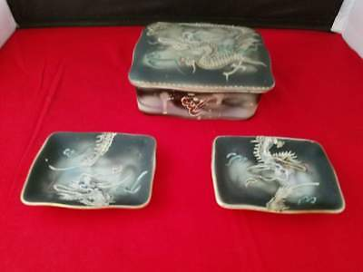 Japanese ceramic trinket box and ring trays, dragon with gold detail