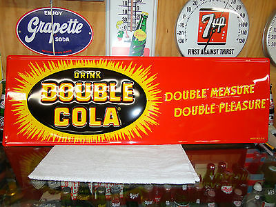 Double Cola Soda Sign Embossed With Beautiful Color 40's Style Starburst Design
