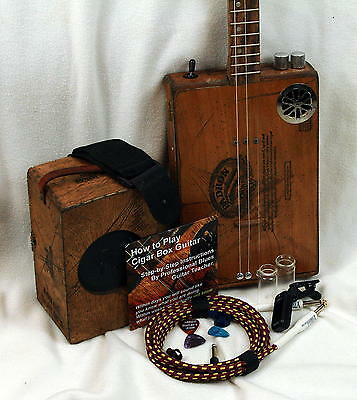 3 string acoustic or electric Humbucker Cigar Box Guitar -  with distortion amp