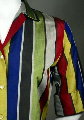 Distinctive JEWEL TONE STRIPE 50s Vintage Silk Tailored Blouse_ROCKABILLY_ExCond