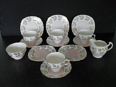 Old Vintage Colclough English Bone China Tea Set Pastel Baby Pink